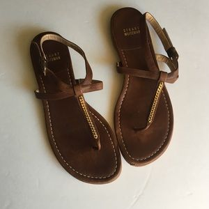Stuart Weitzman Brown and Gold Thong Sandals 8.5